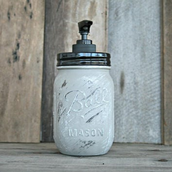 Mason Jar Soap Dispenser - Distressed, Shabby Chic, Country, Cottage Home Decor - Annie Sloan Chalk Paint, French Linen
