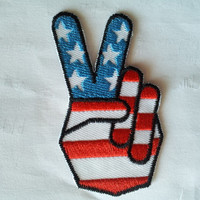 American Flag USA Hand Victory Finger applique iron on patch