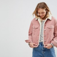 ASOS Cord Jacket With Fleece Collar in Washed Pink at asos.com