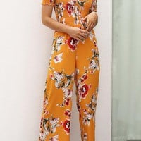 Chicoth Off Shoulder Holiday Floral Shirred Jumpsuit