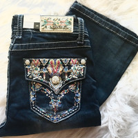 GRACE IN L.A REFLECTING WATERS EASY BOOTCUT JEANS