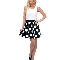Black & White Polka Dot Color Block Cut Out Scuba Flare Dress