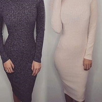 Knitted Long Sleeve Pencil Midi Dress