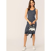 SHEIN Striped Print Pencil Tank Dress
