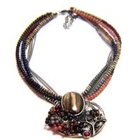 Tiger Eye Natural Stone Flower and Crystal Beaded Flower Necklace