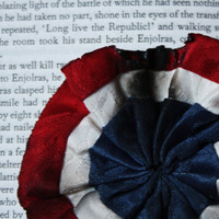 Les Miserables Cockade Rosette Pin Red White Blue - Pleated Singed