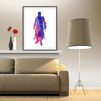 Altair, Assassin's Creed video game Watercolor Print Fine Art illustrations Wall Art Al Tair Giclee Poster Wall Hanging Art Home Decor