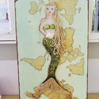 Mermaid Decor Mixed Media Artwork on Wood. Blonde Hair Blue Eyes Green Map Original Painting.
