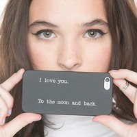 CLEAR Snap On Case IPHONE 4 4S Plastic Cover - I LOVE YOU TO THE MOON AND BACK crescent howling wolf twilght love