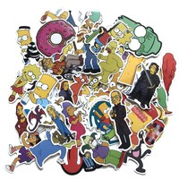 50pcs/lot Cartoon Simpson Stickers Waterproof Sticker Funny For Car Laptop Skateboard Luggage Motorcycle Decal Kids Toy
