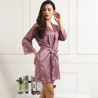 Hot Women Sexy Silk Satin Robes Kimono Nightwear Sleepwear Pajama Bath Robe Nightgown With Belt