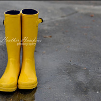 Yellow Boots  Fine Art Photography Print 8x10 by HSquaredCreations