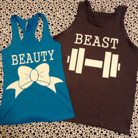Free US Shipping Fast Processing Matching Couples Beauty and The Beast TShirts or tanks Turquoise and Black