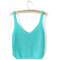Sexy Women's Retro Crochet Crop Tops Candy colors V neck Backless Knitted knitwear Tank Vest Tops Camis Camisole