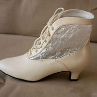 Ivory Steampunk Victorian Wedding Granny Lace Up Inlaid Western Ankle Boots