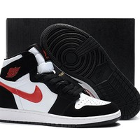 Wmns Air Jordan 1 Black/white/red Basketball Shoes | Best Deal Online