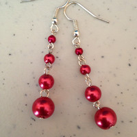 Red Chained Round Beaded Dangle Earrings