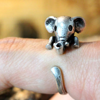 Baby Elephant Ring Women's Girl's Retro Burnished Animal Ring Jewelry Adjustable Free Size Wrap Ring Black Crystal gift idea
