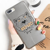 KENZO New fashion letter tiger print couple protective cover phone case