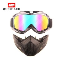 Queshark Bicycle Bike Cycling Glasses Motorcycle Sport Snowboard Ski Eyewear Wind Stopper with Detachable Face Mask Goggles