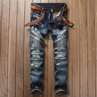 Stylish Ripped Holes Jeans [10766086211]