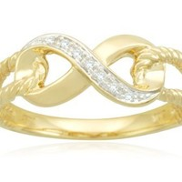 10k Yellow Gold Infinity Diamond Ring, (0.02 cttw, I-J Color, I2-I3 Clarity) Size 8