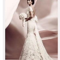 Reserved  for Taylee-Vintage Lace Wedding Dress with Deep V Back and long Sleeves CUSTOM