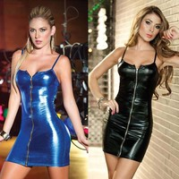 Sexy Faux Leather Catsuit Dress Women Night Club Pole Dance Wear Latex Fetish pvc Fantasias Erotic Products