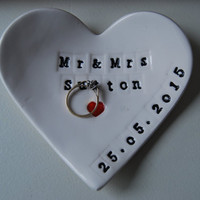 Personalised heart ring dish, Couples names, wedding gift, Handmade personalised ring dish, heart ring fish, Jewellery dish, Ring Bowl