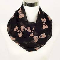 Black Bows Infinity Scarf Womens Accessories Kawaii Scarf Black Bows Scarf Pink Bows Scarf Cute lightweight scarf chiffon scarf for Women