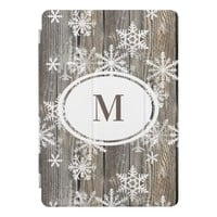 Snowflakes Rustic Wood Personalized iPad Pro Case