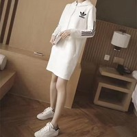 """Adidas"" Women Sport Casual Zip Stripe Hooded Long Sleeve Sweater Mini Dress"