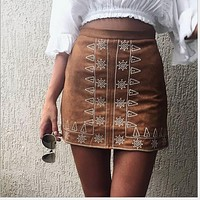 Bohemian Style Print High Waist Bodycon Mini Skirt
