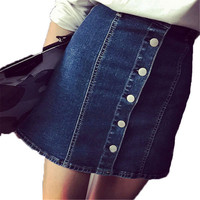 Denim Skirt Summer Style Women Short Skirts Sexy Single Row Button Faldas A-Line Blue Jean Casual Fashion High Waist Saia