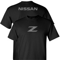 Nissan Z in Grey on a Black T Shirt