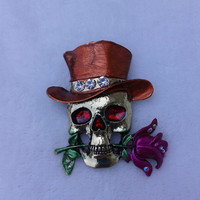 skull with rose and brown hat  bronze  brooch  pin