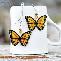 Butterfly shaped Earrings , Yellow and orange,  Free Worldwide Shipping, dangle 2- sided Jewelry,