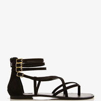 Strappy Faux Leather Thong Sandals
