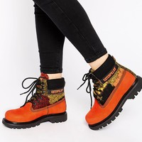 Cat Footwear Colorado Orange Wool Mix Leather Ankle Boots