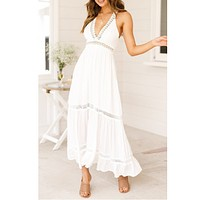 Spring and summer new women's sexy low-cut backless lace lace dress