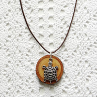 Wooden necklace, Tibetan silver turtle and wood necklace, Tibetan silver and wood pendant, eco friendly necklace (0107)