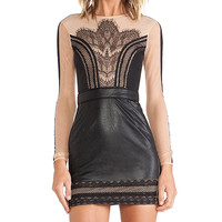 self-portrait Wanderlust Mini Dress in Black
