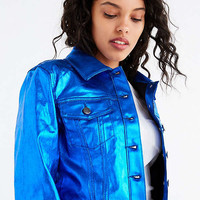 UO Ziggy Metallic Fitted Trucker Jacket | Urban Outfitters
