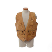Vintage 80s 90s Leather Cargo Vest 1980s 1990s Daily Planet Hippie Steampunk Rocker Stoner Hunting Multi Pockets Jacket / mens XL