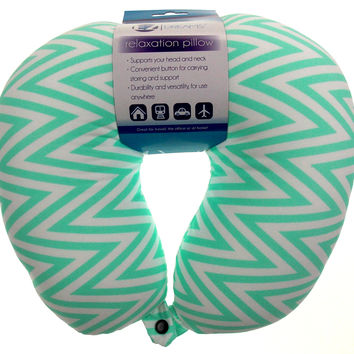 Neck Support Air Car Travel Pillow Green Zig Zag Microbeads Relaxation Squishy