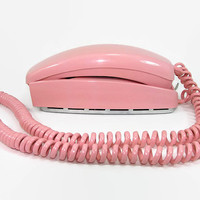 Pink 1969 Trimline Phone Rotary Dial Western Electric Desk or Wall Telephone Long Cord