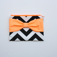 Neon Cosmetic Case / Zipper Pouch - Black Chevron with Fluorescent Orange Bow - Choice of Bow Style