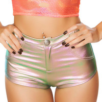 Light Multicolored Holographic High-Waisted Button Booty Shorts