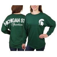 Women's Michigan State Spartans Hunter Green Pom Pom Jersey Oversized Long Sleeve T-Shirt