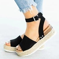 Fashion Sandals Woman Sawdust Large Size Toe Sandals Women's Flat-soled Sandals Black